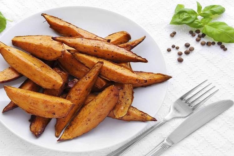 Saludable receta de batatas al horno fácil y rápido bocadillo